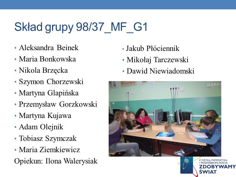 Skład grupy 98/37_MF_G1 Aleksandra Beinek Maria Bonkowska