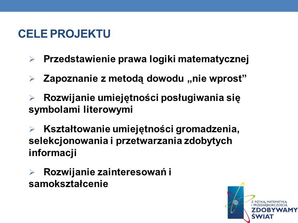 CELE PROJEKTU Przedstawienie prawa logiki matematycznej