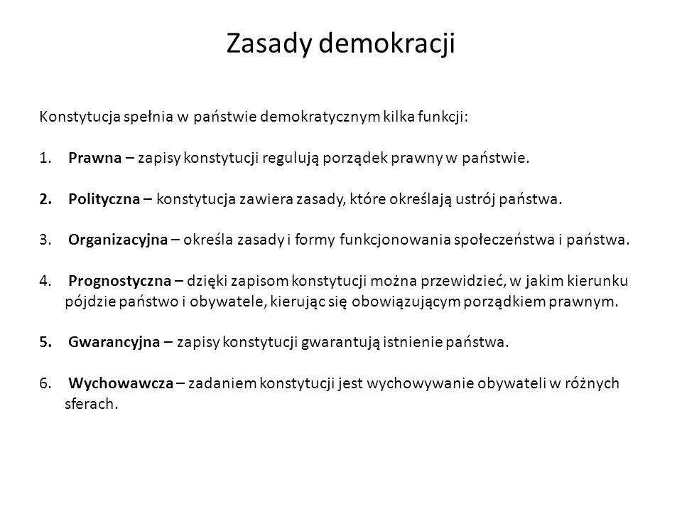 Zasady demokracji Konstytucja spełnia w państwie demokratycznym kilka funkcji: Prawna – zapisy konstytucji regulują porządek prawny w państwie.