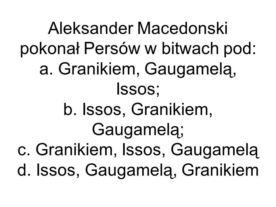 Aleksander Macedonski pokonał Persów w bitwach pod: a