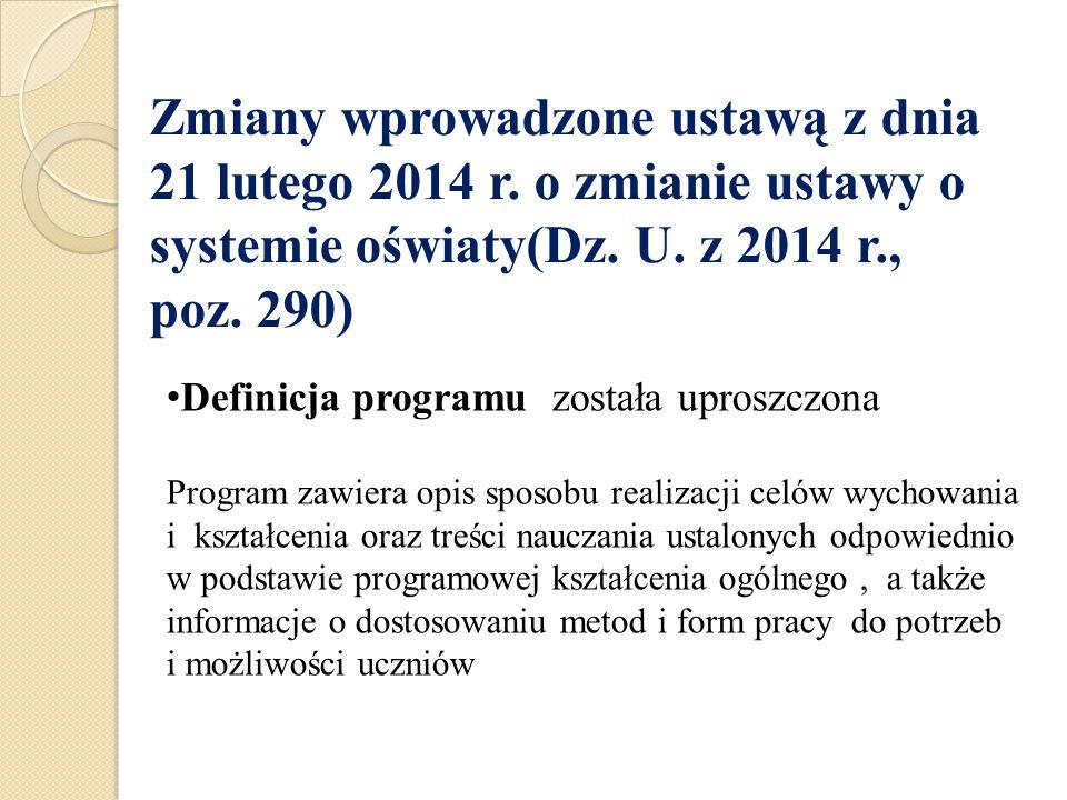 Zmiany wprowadzone ustawą z dnia 21 lutego 2014 r