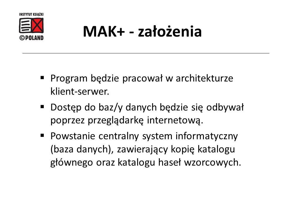 MAK+ - założenia Program będzie pracował w architekturze klient-serwer. Dostęp do baz/y danych będzie się odbywał poprzez przeglądarkę internetową.