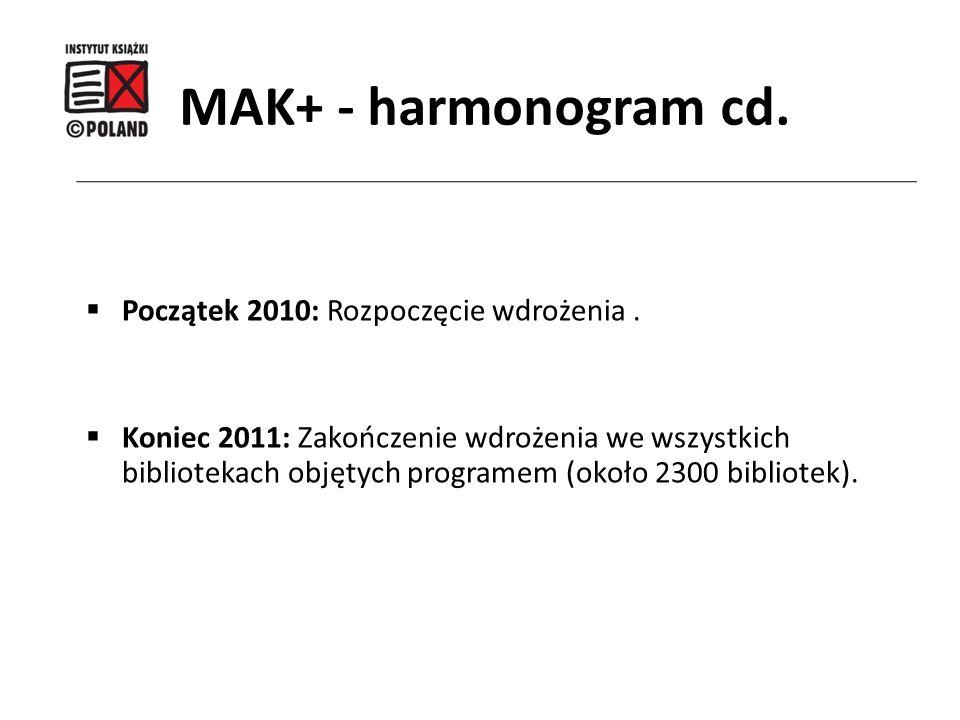 MAK+ - harmonogram cd. Początek 2010: Rozpoczęcie wdrożenia .