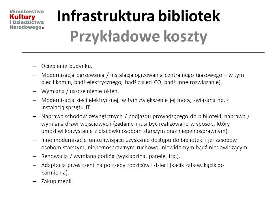 Infrastruktura bibliotek Przykładowe koszty