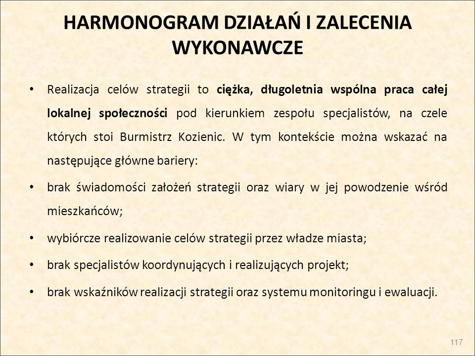 HARMONOGRAM DZIAŁAŃ I ZALECENIA WYKONAWCZE