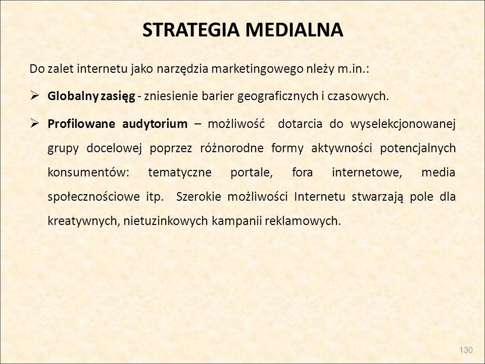 STRATEGIA MEDIALNA Do zalet internetu jako narzędzia marketingowego nleży m.in.: Globalny zasięg - zniesienie barier geograficznych i czasowych.
