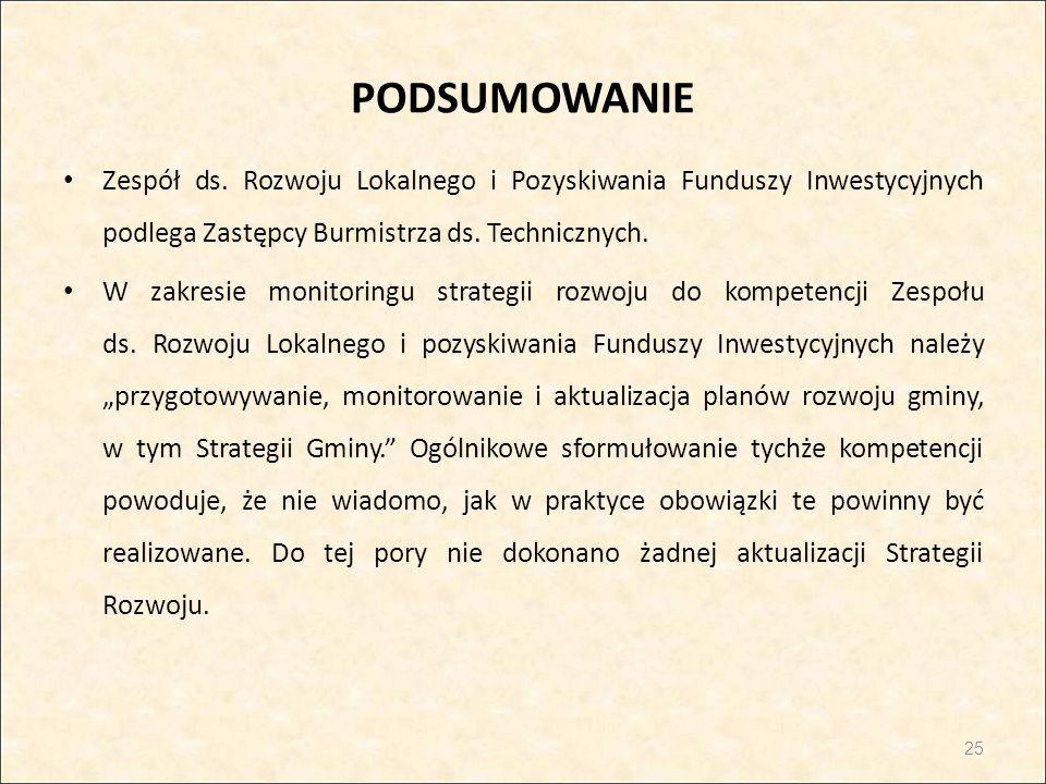 PODSUMOWANIE Zespół ds. Rozwoju Lokalnego i Pozyskiwania Funduszy Inwestycyjnych podlega Zastępcy Burmistrza ds. Technicznych.