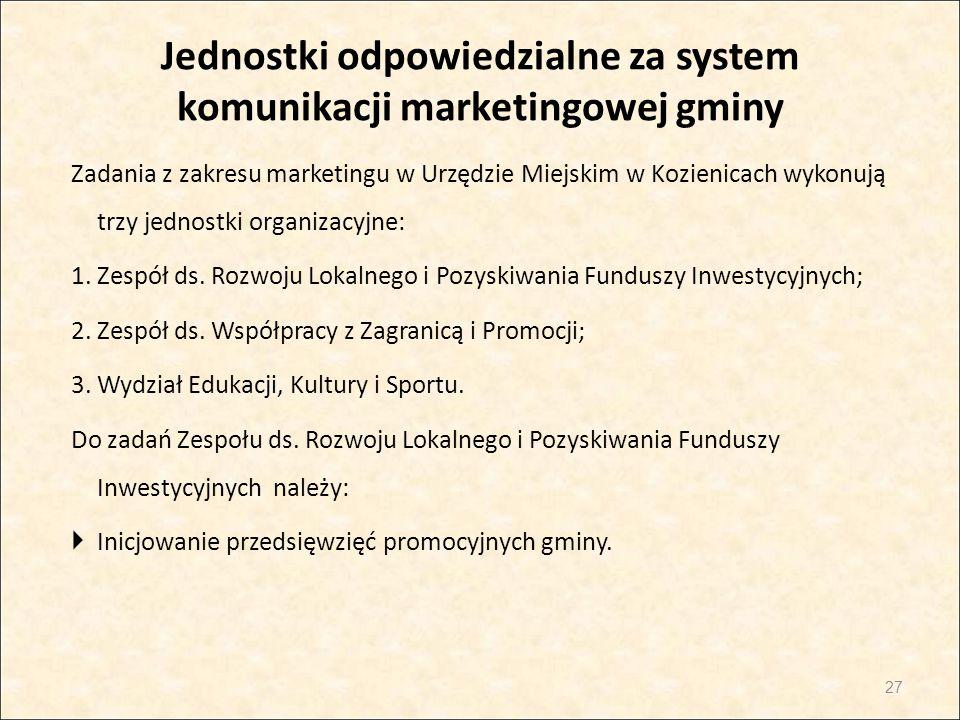 Jednostki odpowiedzialne za system komunikacji marketingowej gminy