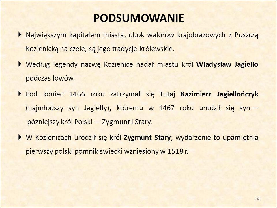 PODSUMOWANIE Największym kapitałem miasta, obok walorów krajobrazowych z Puszczą Kozienicką na czele, są jego tradycje królewskie.