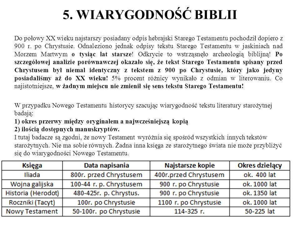 5. WIARYGODNOŚĆ BIBLII