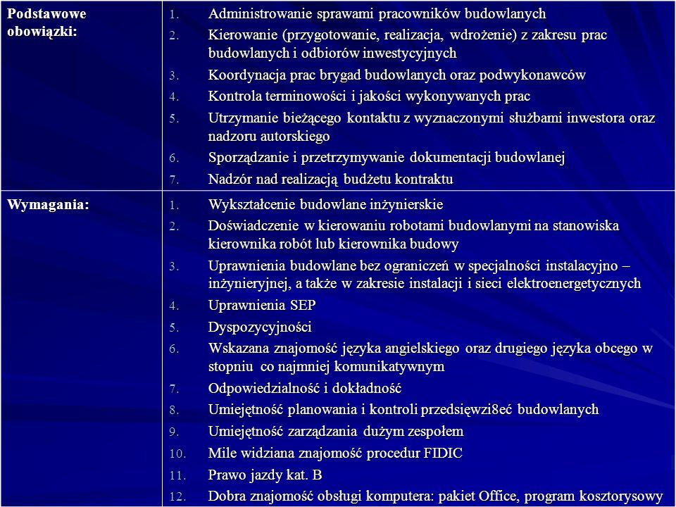 Podstawowe obowiązki: