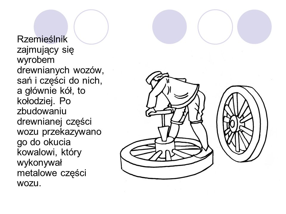 Rzemieślnik zajmujący się wyrobem drewnianych wozów, sań i części do nich, a głównie kół, to kołodziej.