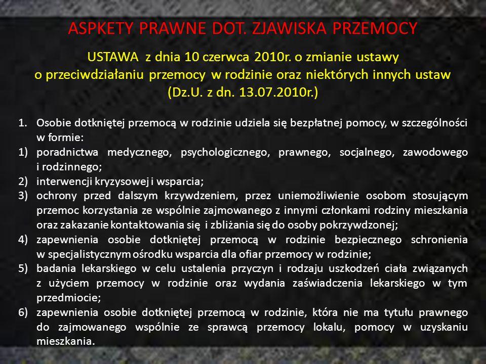 ASPKETY PRAWNE DOT. ZJAWISKA PRZEMOCY
