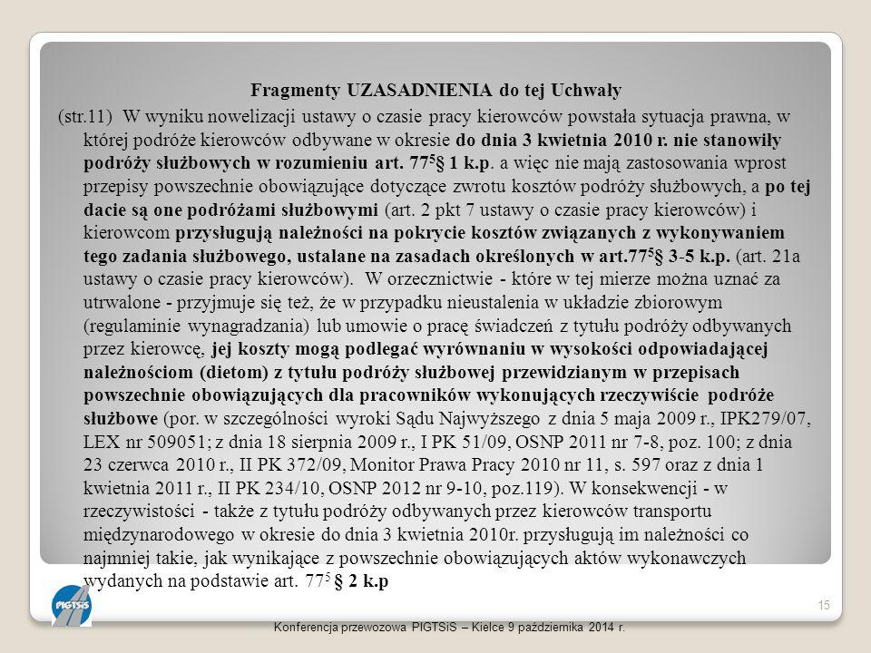 Fragmenty UZASADNIENIA do tej Uchwały (str