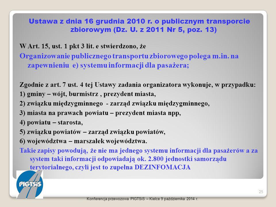 Ustawa z dnia 16 grudnia 2010 r. o publicznym transporcie zbiorowym (Dz. U. z 2011 Nr 5, poz. 13)
