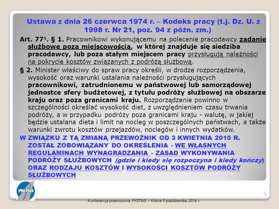 Ustawa z dnia 26 czerwca 1974 r. – Kodeks pracy (t. j. Dz. U. z 1998 r