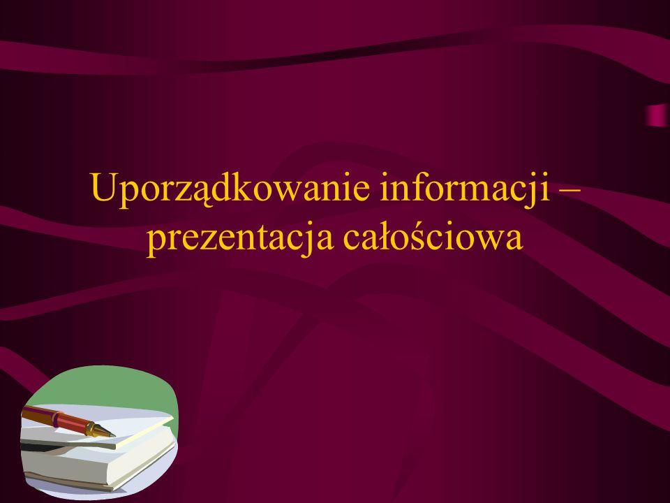 Uporządkowanie informacji – prezentacja całościowa