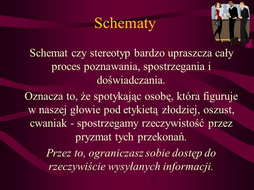 Schematy Schemat czy stereotyp bardzo upraszcza cały proces poznawania, spostrzegania i doświadczania.