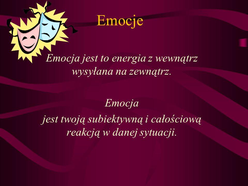 Emocje Emocja jest to energia z wewnątrz wysyłana na zewnątrz. Emocja