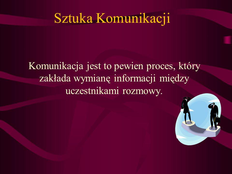 Sztuka Komunikacji Komunikacja jest to pewien proces, który zakłada wymianę informacji między uczestnikami rozmowy.