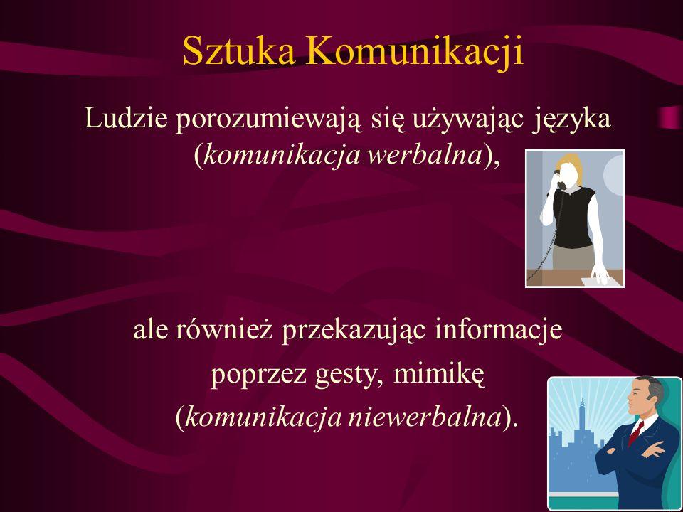 Sztuka Komunikacji Ludzie porozumiewają się używając języka (komunikacja werbalna), ale również przekazując informacje.