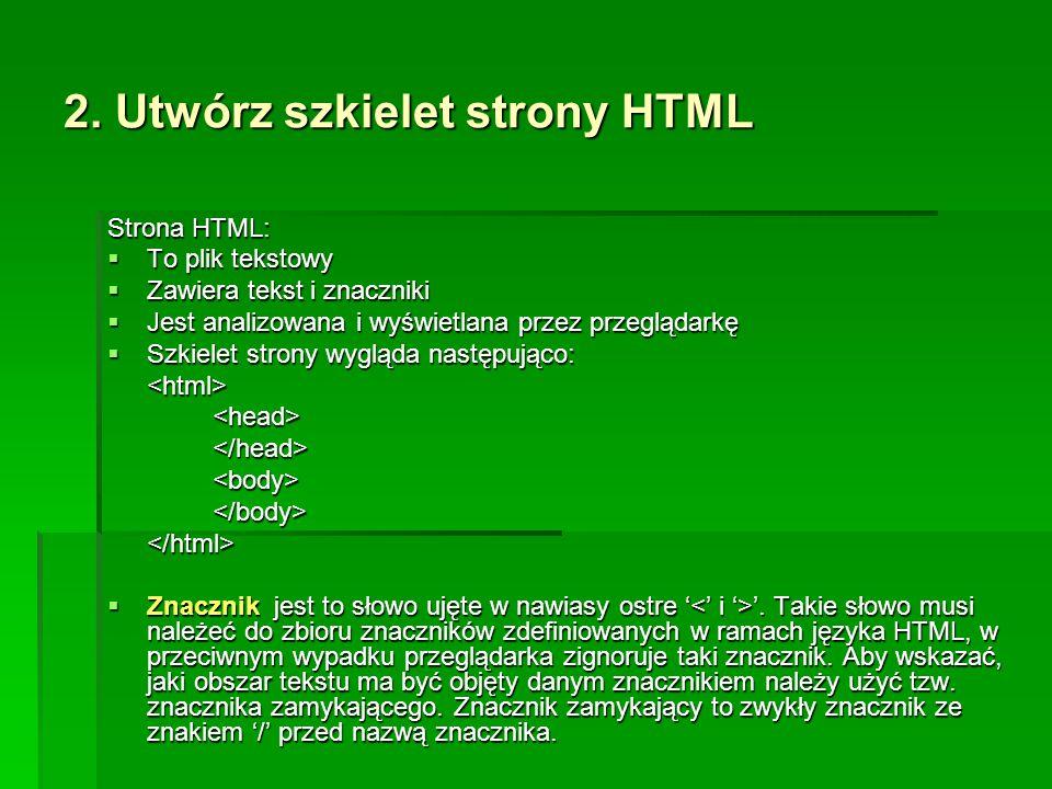 2. Utwórz szkielet strony HTML