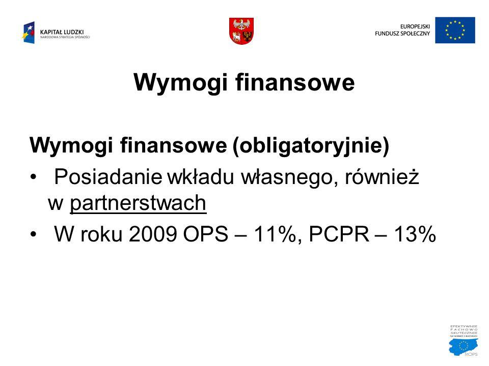 Wymogi finansowe Wymogi finansowe (obligatoryjnie)