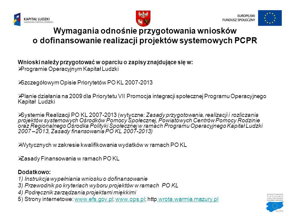 Wymagania odnośnie przygotowania wniosków o dofinansowanie realizacji projektów systemowych PCPR