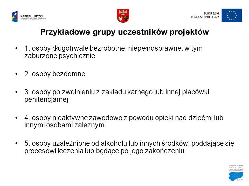 Przykładowe grupy uczestników projektów