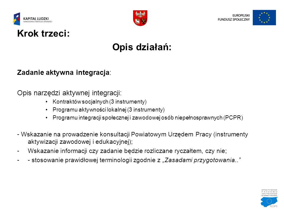 Krok trzeci: Opis działań: Zadanie aktywna integracja: