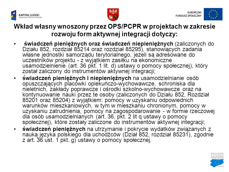 Wkład własny wnoszony przez OPS/PCPR w projektach w zakresie rozwoju form aktywnej integracji dotyczy:
