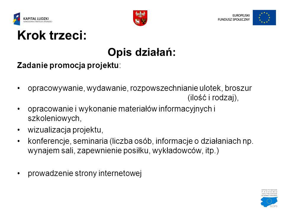 Krok trzeci: Opis działań: Zadanie promocja projektu: