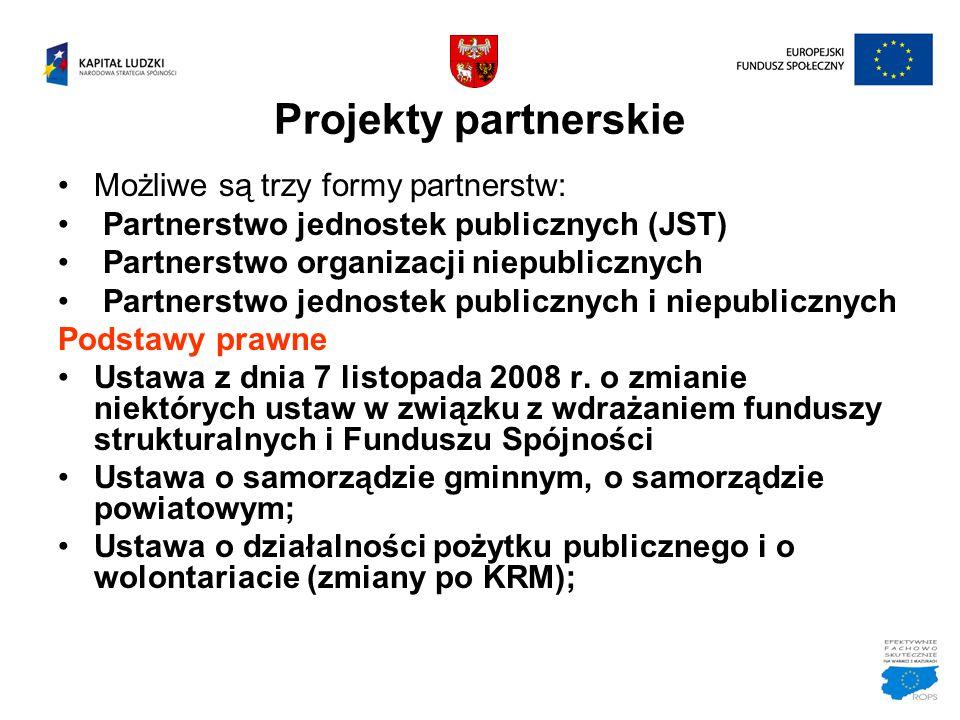 Projekty partnerskie Możliwe są trzy formy partnerstw: