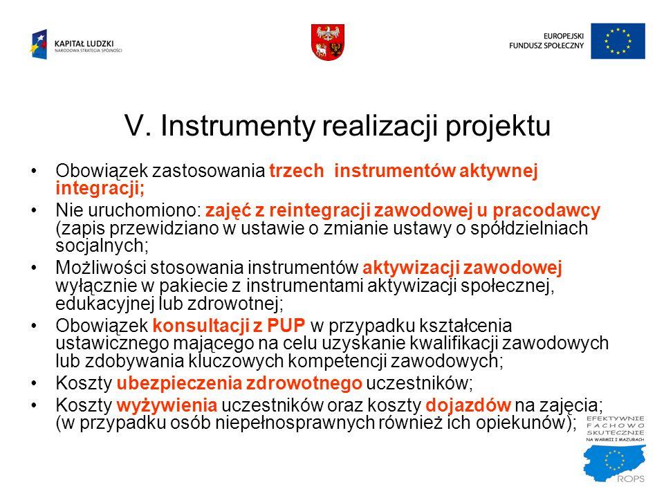 V. Instrumenty realizacji projektu