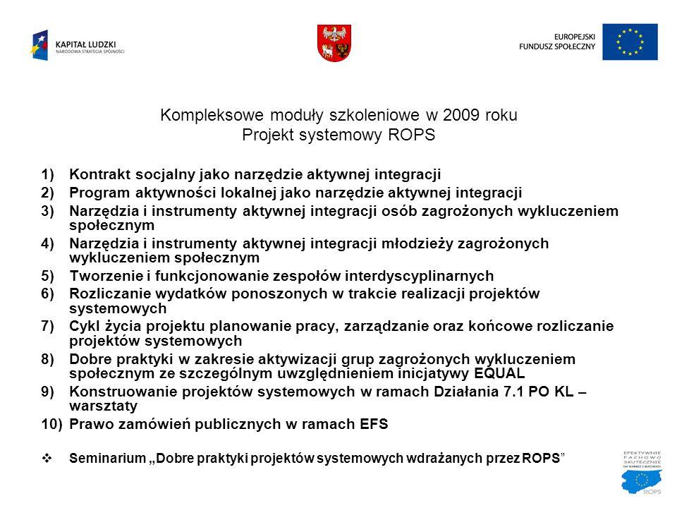Kompleksowe moduły szkoleniowe w 2009 roku Projekt systemowy ROPS