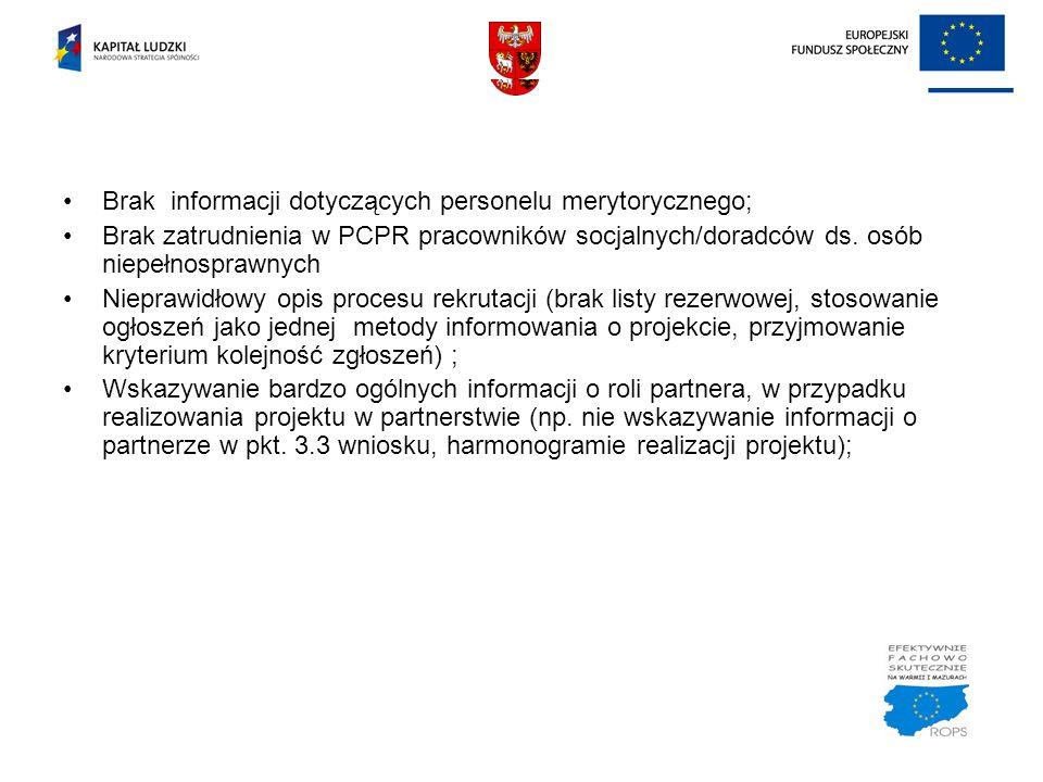 Brak informacji dotyczących personelu merytorycznego;