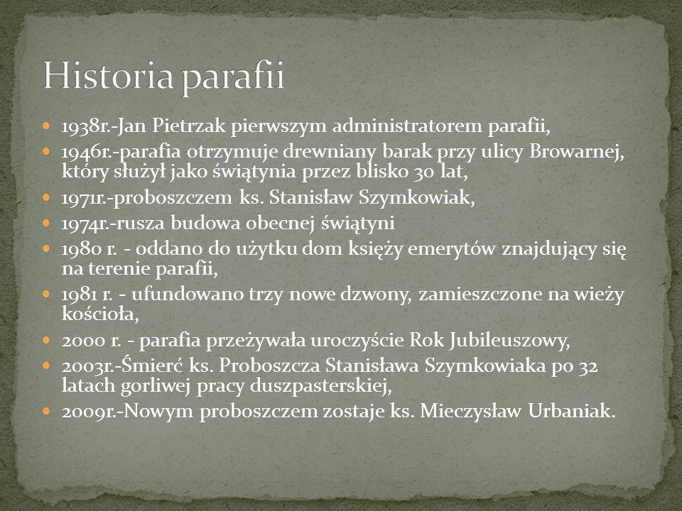 Historia parafii 1938r.-Jan Pietrzak pierwszym administratorem parafii,