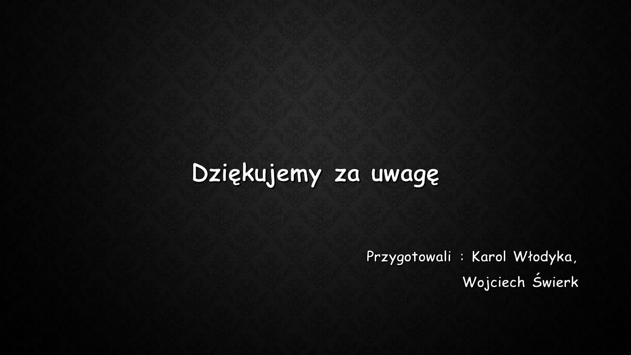 Dziękujemy za uwagę Przygotowali : Karol Włodyka, Wojciech Świerk