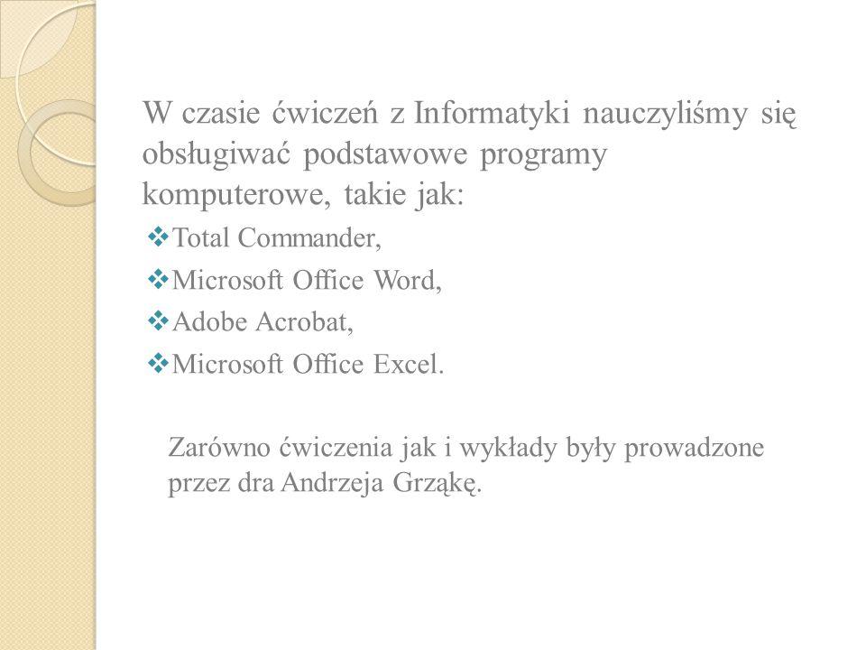 W czasie ćwiczeń z Informatyki nauczyliśmy się obsługiwać podstawowe programy komputerowe, takie jak: