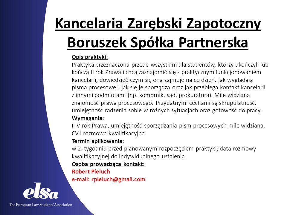 Kancelaria Zarębski Zapotoczny Boruszek Spółka Partnerska