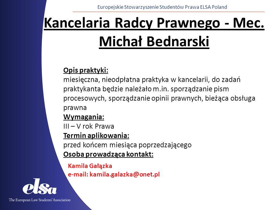 Kancelaria Radcy Prawnego - Mec. Michał Bednarski