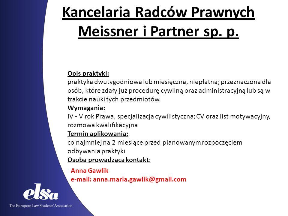 Kancelaria Radców Prawnych Meissner i Partner sp. p.