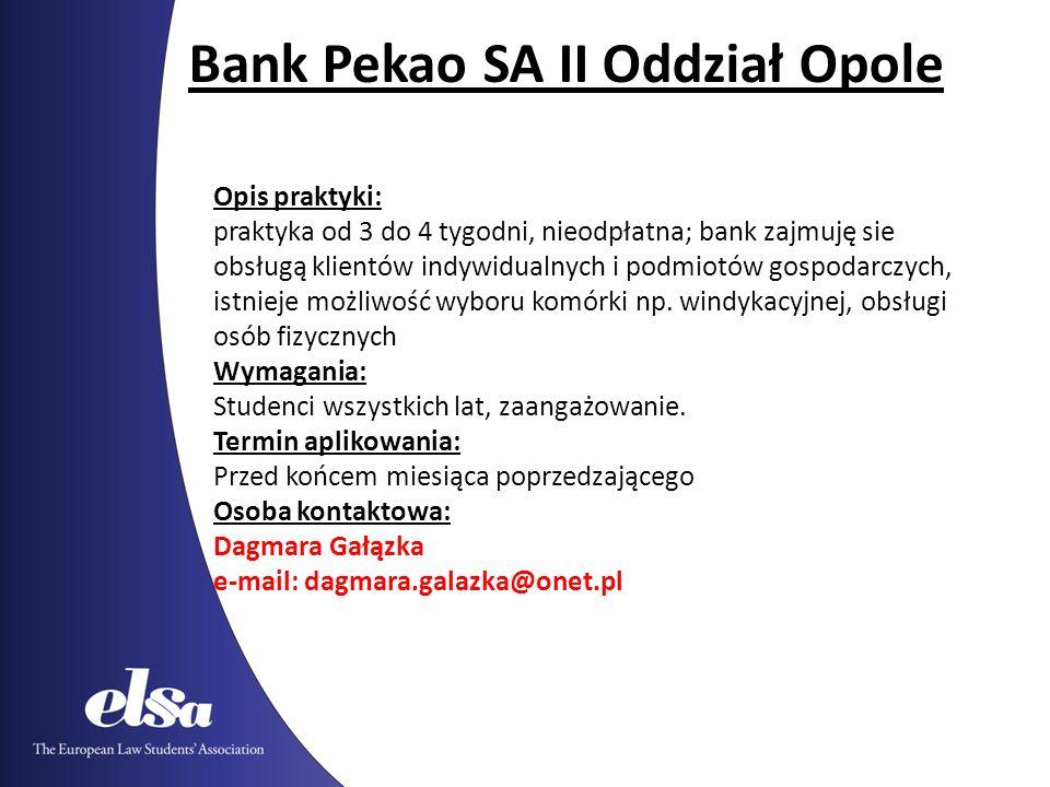 Bank Pekao SA II Oddział Opole