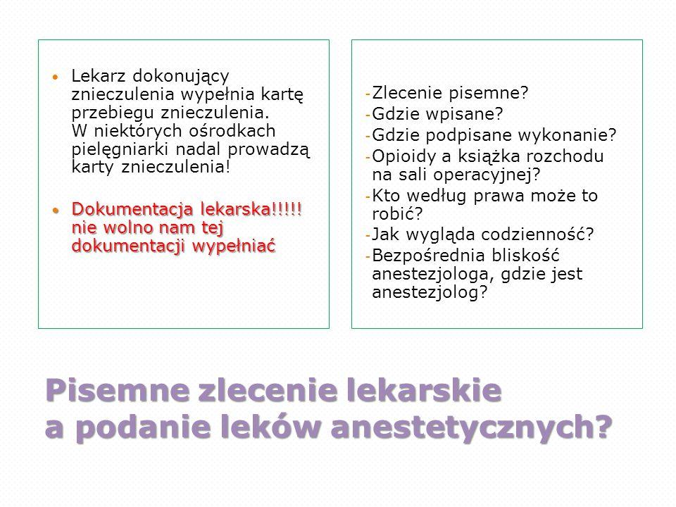 Pisemne zlecenie lekarskie a podanie leków anestetycznych