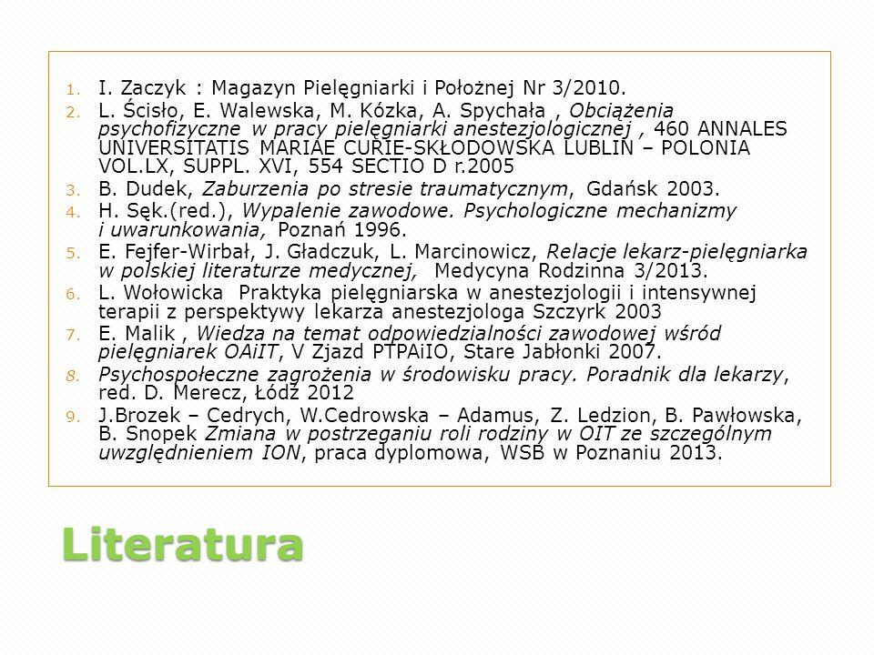 Literatura I. Zaczyk : Magazyn Pielęgniarki i Położnej Nr 3/2010.