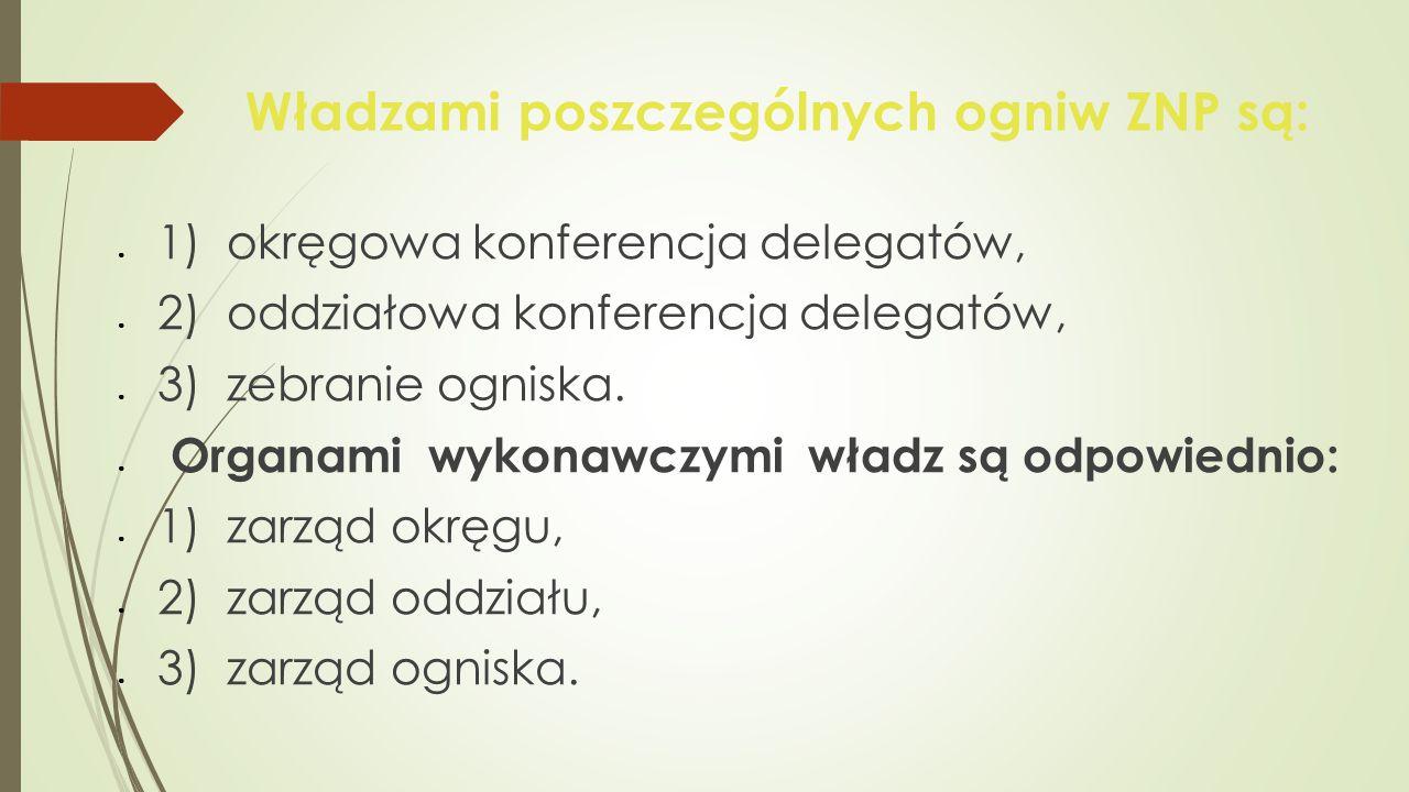Władzami poszczególnych ogniw ZNP są: