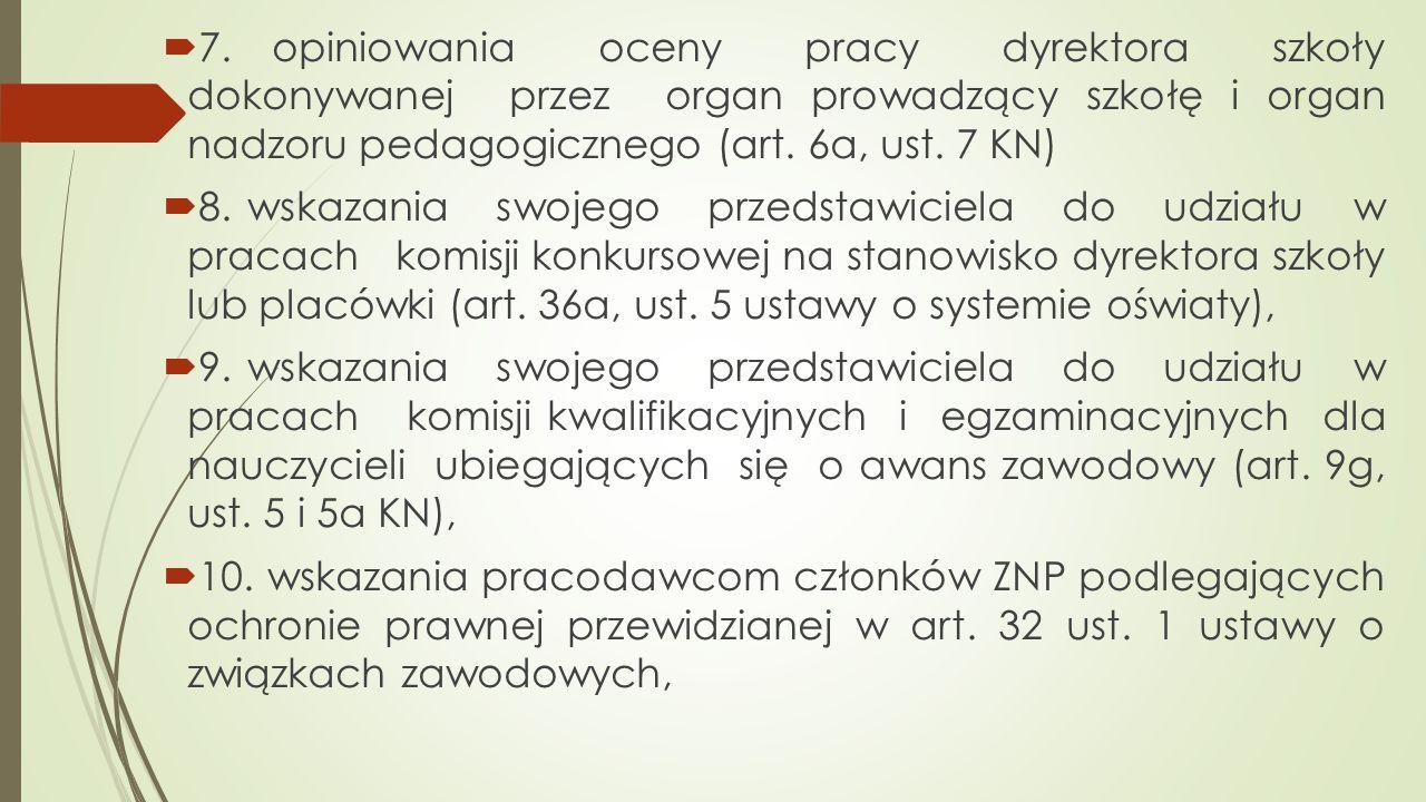 7. opiniowania oceny pracy dyrektora szkoły dokonywanej przez organ prowadzący szkołę i organ nadzoru pedagogicznego (art. 6a, ust. 7 KN)
