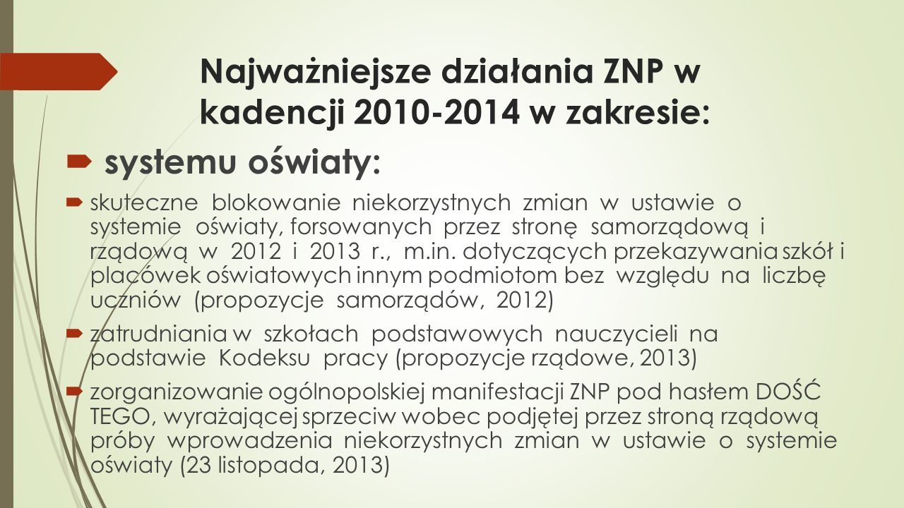 Najważniejsze działania ZNP w kadencji 2010-2014 w zakresie: