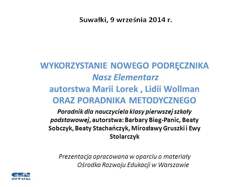 WYKORZYSTANIE NOWEGO PODRĘCZNIKA Nasz Elementarz autorstwa Marii Lorek , Lidii Wollman ORAZ PORADNIKA METODYCZNEGO