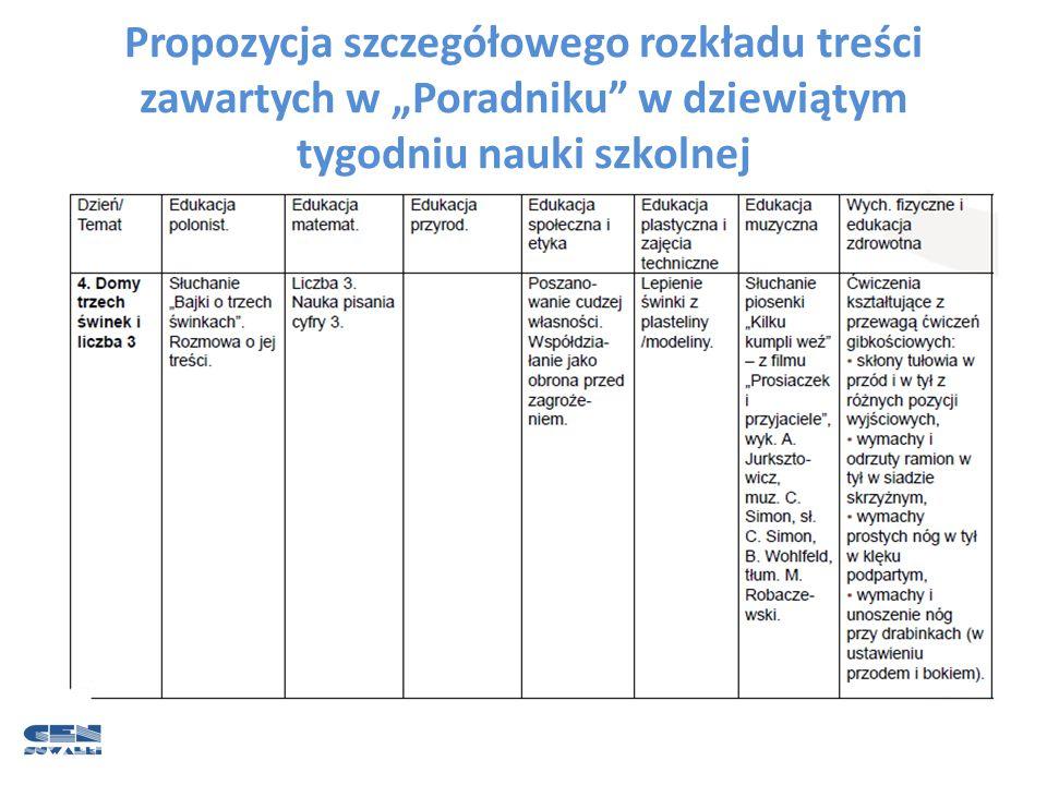 """Propozycja szczegółowego rozkładu treści zawartych w """"Poradniku w dziewiątym tygodniu nauki szkolnej"""